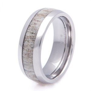 Men's Titanium Deer Antler Wedding Ring