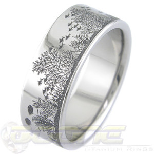 Men's Titanium Aquatic Fish Wedding Band