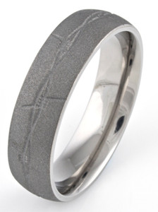 Men's Barbwire Titanium Sandblasted Ring