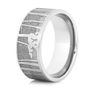 Men's Titanium Bear & Cabin Scene Ring
