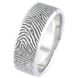 Beveled Edge Fingerprint Ring