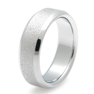 Beveled Edge Titanium Ring with Frost Inlay