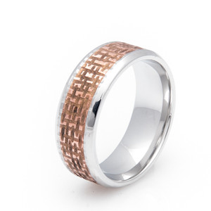 Cobalt and Copper Ring with Basket Weave Finish