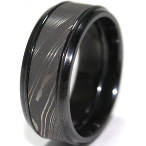 Men's Black Zirconium Ring with Acid Finish Damascus Steel Inlay