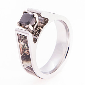 Women's Cobalt Chrome Cathedral Cut Black Diamond Camo Engagement Band