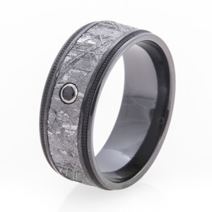 Men's Black Zirconium Diamond Gibeon Meteorite Ring