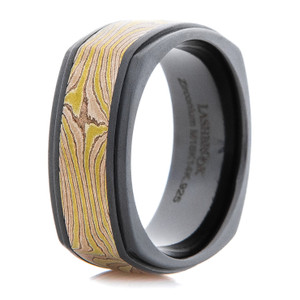 Black and Gold Mokume Gane Acid Ring