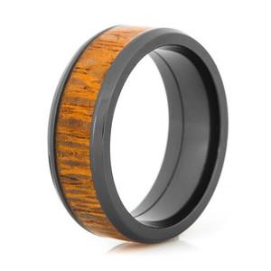 Men's Beveled Edge Polished Black Zirconium Leopard Wood Inlay Ring