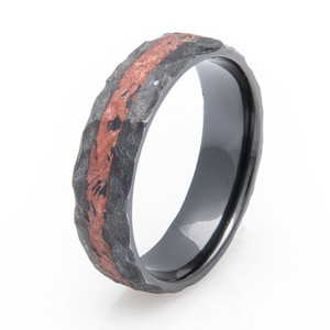 Black Zirconium Copper Ring with Rock Finish