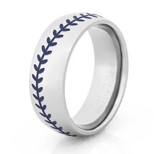 Mens Titanium Baseball Wedding Ring With Blue Stitching