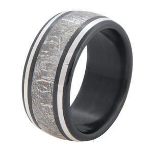 Men's Black Zirconium Meteorite Ring with Twin Platinum Accents