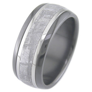 Men's Black Zirconium Meteorite Ring with Twin Titanium Inlays