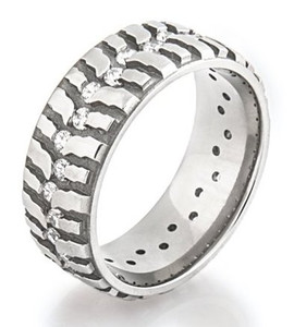 womens titanium mud bogger ring with cubic zirconia - Mud Tire Wedding Rings