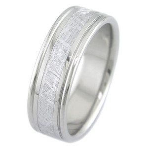 Men's Grooved Edge Titanium Gibeon Meteorite Ring