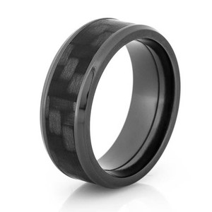 Black Zirconium and Carbon Fiber Ring with Beveled Edge