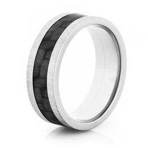 Carbon Fiber Ring w/Cross Satin Finish