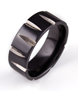 Carved Black Zirconium Ring