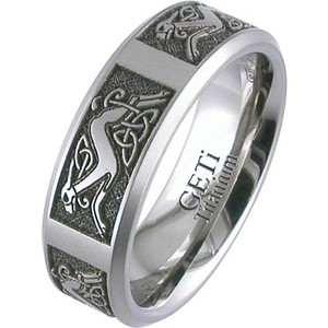 Laser Engraved Celtic Animal Ring