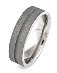 Men's Titanium Sandblasted Ring with Center Groove