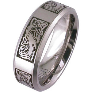 Laser Engraved Celtic Wedding Band