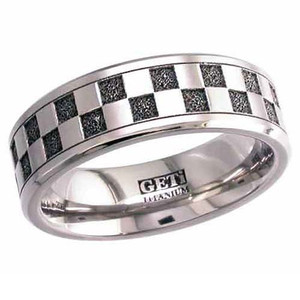 Titanium Checkerboard Ring