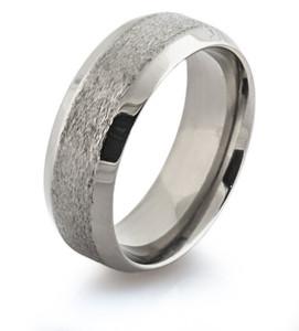 Stone and Polished Beveled Titanium Ring