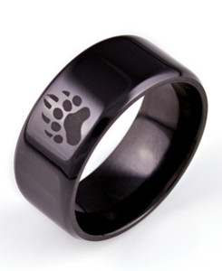 Men's Black Zirconium Bear Tracks Ring