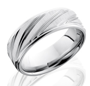 Men's Cobalt Ring with Long Diagonal Striped Grooves