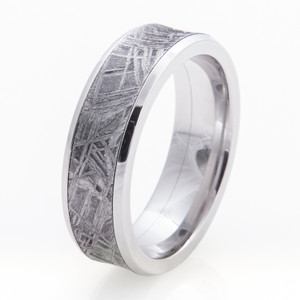 Men's Wide Inlay Concave Cobalt Gibeon Meteorite Ring