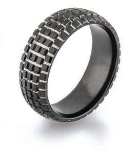 Men's Black Dirt Bike Wedding Ring