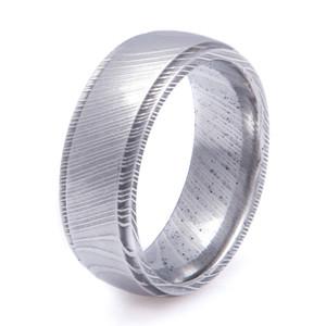 Men's Grooved Detail Edge Damascus Steel Ring