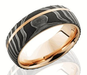 Men's Rose Gold and Damascus Steel Ring