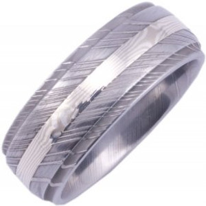 Men's Grooved Edge Damascus Steel Ring with Mokume Gane Inlay