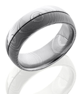 Men's Damascus Steel Wedding Ring with Center Groove