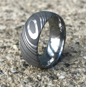 Men's Acid Finish Stainless Damascus Steel Ring