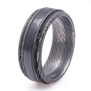Men's Acid Finish Damascus Steel Ring with Black Zirconium Inlay