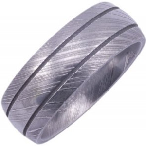 Men's Stainless Damascus Steel Ring with Dual Grooves
