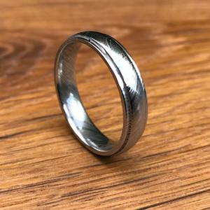 Men's Grooved Edge Damascus Steel Wedding Ring