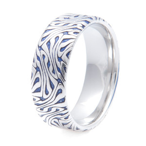 Men's Blue Escher Pattern Cobalt Ring