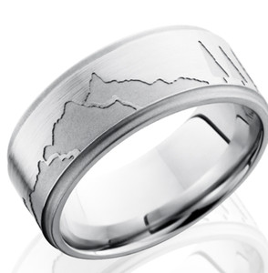 Men's Grooved Edge Cobalt Mountains Ring