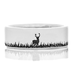 Men's Laser-Carved Titanium Deer Bow Hunter Ring