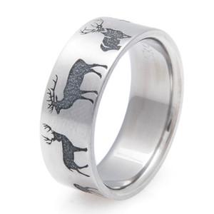 Men's Laser Carved Deer Silhouette Ring