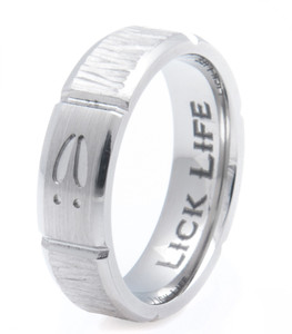 Men's Titanium Tree Bark and Deer Tracks Ring