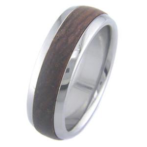 Men's Dome Profile Titanium and Cocobolo Ring