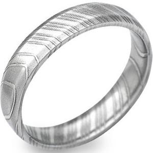 Narrow Bevel Profile Damascus Steel Ring