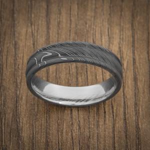 Men's Acid Finish Round Edge Damascus Steel Ring