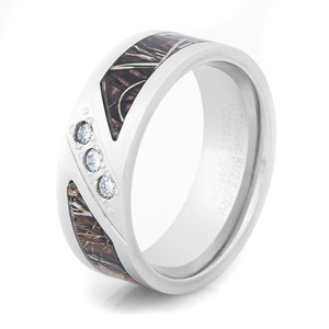 Men's Cobalt Chrome Three-Stone Diamond Camo Ring