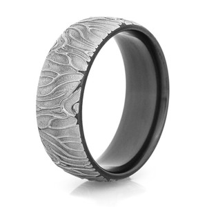 Men's Distressed Black Zirconium Tree Roots Ring