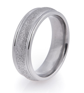 Dome Profile Arctic Titanium Wedding Band with Rounded Edges