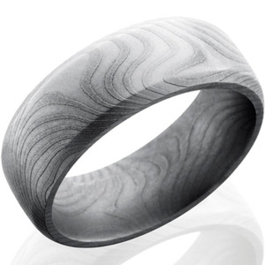 Men's Dome Profile Beveled Edge Damascus Steel Ring
